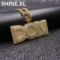 Wholesale necklace chain hook resale online - Iced Out Letter DON Pendant Necklace Star Hook Gold Silver Plated Micro Paved Cubic Zircon Mens Hip Hop Jewelry Gift