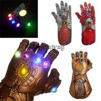 взрослый железный человек оптовых-Мстители Эндшпиль 36 СМ Thanos Iron Man перчатки со светодиодом 2019 Новый детский взрослый Хэллоуин косплей Натуральный латекс Перчатки Бесконечность Игрушки