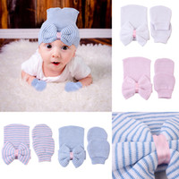 Wholesale newborn cotton hat pink for sale - Group buy 2019 New Newborn bow Hat Baby Bow Hat and Goves Set Colors Infant Knit Bowknot Caps Soft Cotton Hospital Hat kids Striped Cap M104