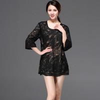 siyah çiçek tunik toptan satış-Vintage Siyah Kadınlar Hollow Out Dantel Gömlek Üst Yuvarlak Boyun 3/4 Kollu Gevşek Nakış Çiçek Uzun Tunik Bluz Artı Boyutu giyim