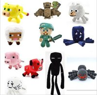 Wholesale 18 Style Design cm Minecraft Plush Toy Skeleton Man Doll Stie Pink Pig Aries Tiger Cat Zombie Man Squid Doll Children gift