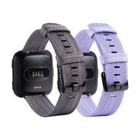 Wholesale canvas watch bands resale online - For Fitbit Versa Lite Replacement Watch Strap Bands Sport Canvas Nylon Braided Straps Band Bracelets color