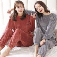 dicke flanell-nachthemden großhandel-Herbst und Winter Flanell Frauen Pyjama Sets Nachtwäsche Startseite Bekleidung Thick Warm Coral Velvet Female Nightgown Anzug Pijama