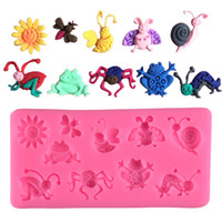 Wholesale frog tool resale online - 3D Insect Silicone Mold Frog Bee Snail Spider Mould Cake Decor Tool