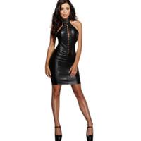 robes épaisses des femmes achat en gros de-Feitong Sexy Femmes En Cuir Verni Robe Rouge Femmes Moulantes Robes Épais Hiver De La Mode Vêtements De Danse Costume De Performance # g50