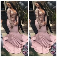 Wholesale african style prom dresses resale online - Long Sleeves Slim Lace Appliques Mermaid Prom Dresses Sexy Customized Plus Size African Style Black Girls Evening Party Gown Custom