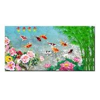 pintura moderna china venda por atacado-Presentes Hot série Modern Wall Art China Vento Feng Shui Koi Peixe Pintura Imagem impressa Na Lona escritório Sala de estar Decoração de Casa BFS4007
