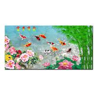 ingrosso porcellana moderna di pittura-Regali Hot serie Modern Wall Art Cina vento Feng Shui Koi pesce pittura immagine stampata su tela ufficio soggiorno Home Decor BFS4007