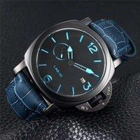 luxury watches venda por atacado-Marca Edição Limitada 1950 PVD Black Fibra De Carbono Caso 00700 LAB-ID 700 Preto Dial Quartz Mens Watch Pulseira De Couro Gents De Luxo Relógios