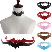 Wholesale chain harness jewelry resale online - Fashion Sexy PU Leather Bat Wing Harness Necklace For Women Men Rock Collar Punk Gothic Choker Necklace Torques Handmade Jewelry Gift