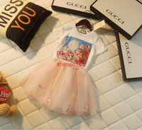 Wholesale natural linen suit online - children s clothing baby clothes fashion style Mesh tutu skirt Cute print short sleeve girl two piece suit kids clothes