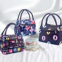 Wholesale portable insulated cooler bags for sale - Oxford Water Proof Mini Insulated Cooler Zipper Print Bag Single Shoulder Heat Preservation Portable Package Ice Pack Double Handle sjb1