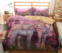 Wholesale 3d unicorn bedding online - 3D Unicorn Bedding Set D Unicorn Printing Duvet Cover Kids Girl Flower Duvet Cover Colored Dreamlike Bedlinen