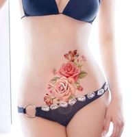 armband tattoos designs großhandel-1 STÜCK Neue Mode Abnehmbare Frauen Dame 3D Blumen Wasserdicht Temporäre Tätowierung Aufkleber Schönheit Körperkunst Einfache Abnutzung Und Easy Clean D19011202