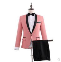 mejores vestidos de novia de cuello al por mayor-los hombres de la chaqueta novio juego determinado con los pantalones de hombre mejor maestro de ceremonias de la boda hombre se adapte vestido formal traje ropa de la etapa cantante