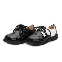 Jungen Classic Gentlemen Kleid Schuhe 2 Farben 17 Größen für 5T Erwachsenen Mode klassische Schnürschuhe weiß schwarz Lackleder für Leistung