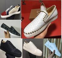 ouro lantejoulas apartamentos venda por atacado-Sapatos 2020 New Luxury Black Gold Glitter Sequins parte inferior vermelha Shoes Designer High Top Spikes Toe couro genuíno sapatilhas do casamento Flats partido