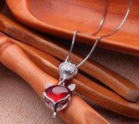 pingente de raposa vermelha venda por atacado-Moda temperamento 925 sterling silver colar senhoras temperamento retro granada pingente sexy red fox moda jóias