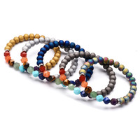 Wholesale crystal surface resale online - New Chakra Bracelets High Quality Natural Stone Cut Surface Energy Crystal Bracelet Color Agate Beads Bracelet Women And Men Jewelry M504A