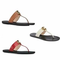 Wholesale sandals woman blacks online - 2019 Designer men women slippers Leather thong sandal slippers Flat Black white red golden with double letter with box