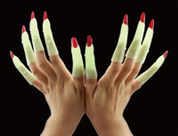 Wholesale party props makeup for sale - Group buy 2019 Hot Selling Halloween Makeup Party Prom Zombie Witch Nails Set Fake Finger Nail Cover Witch Props Glow in The Dark Luminous Nails