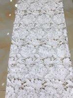 afrikanischer jacquardgewebe großhandel-Weiße farbe Laserschneiden Jacquard Stoff Afrikanische Stickerei Spitze Stoff Für Party Herkunft GUIpure Cord Spitze Material TY072