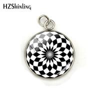 padrão geométrico branco preto venda por atacado-Padrões de silhueta de flor geométrica preto e branco cabochão de vidro de aço inoxidável pingente encantos mulheres jóias acessório
