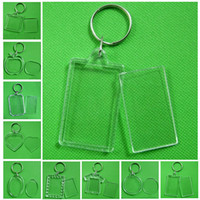 Wholesale keychain picture frames wholesale for sale - Square Clear Acrylic Blank Photo Picture Frame Key Ring Keychain Keyring