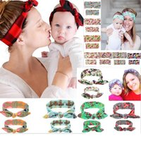 Wholesale lace polka dot baby hair for sale - Group buy Multi Colors Mother Baby Rabbit headbands Polka Dots Flowers Print kids Hair accessories fashion lovely bow kids baby Parent hairband