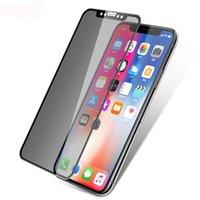 caja de venta al por menor de gafas de pantalla templada al por mayor-Anti-spy Privacy Glass para iPhone XS Max XR 7 8 Protector de pantalla de privacidad Película templada con caja al por menor samsung galaxy note9 s9 s10