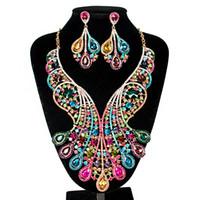 rhinestone-schellfisch-halsketten-sets großhandel-Womens Luxus Afrika Dubai 18k vergoldet Schmuck Sets Hochzeit Strass Crystal Bib Anweisung Halskette Ohrringe Set für Bräute Party Prom