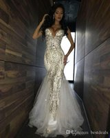 Wholesale sequin beaded sparkle evening dress resale online - Luxury Bling Sparkle Prom Dresses Mermaid White Deep V neck Beaded Crystal Long Tulle Prom Dress Evening Gowns