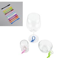 Wholesale label marker online - 12PCS SET Creative Wine Cup Recognizer KTV Bar Party Wine Glass Marker Silicone Label Cup Hanger Barware Accessories