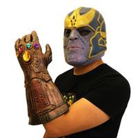 ingrosso silicone per pietra-Avengers 4: Endgame Infinity Stones Thanos Maschera e guanti Infinity Gauntlet Elmo in lattice naturale Marvel Cosplay Custome Halloween Capodanno