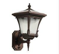 lâmpadas de parede exteriores europeias venda por atacado-Frete grátis Ao Ar Livre Solar Lâmpada de Parede Ao Ar Livre À Prova D 'Água LEVOU Lâmpada de Parede Ao Ar Livre no Pátio Europeu Terraço LLFA