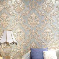 обои для гостиничных номеров оптовых-Ретро-европейские 3D рельефные обои Гостиная ТВ фоновые обои спальня Украшение отеля Золотой цветок papel de pared