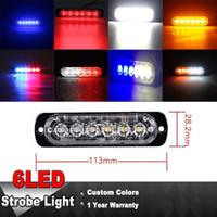 ingrosso luci lampeggianti blu veicoli di emergenza-6 LED Light Bar Flash Emergenza Veicolo Avvertimento Stroboscopio Lampeggiante Blu Rosso Bianco Giallo Ambra