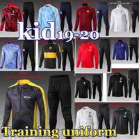kit de pogba al por mayor-FC Manchester Pogba KID 2019 2020 Borussia Dortmund camiseta de fútbol Inter de formación de la chaqueta del juego del fútbol kits de Jersey City AR chaqueta de chándal