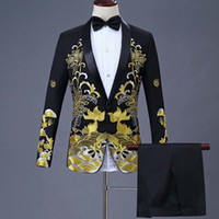 Wholesale chinese men wedding costume resale online - 2 Pieces Set Men s Chinese Dress Stage Host Singer Costumes Ceremonial Embroidered Suit Prom Party Suits Wedding