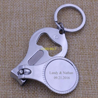Wholesale bottles for souvenirs resale online - Personalized Wedding Souvenir For Guests Customized Wedding Favor Nail Clipper Bottle Wine Opener Keychain Gift With Box