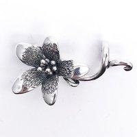 blumen 3mm großhandel-Echte 925 Sterling Silber Blume Anemone Anhänger Charms Original Fit Pandora Europäischen 3mm Armband Halskette Schmuck J190625