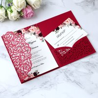 Wholesale folded engagement invitations for sale - Group buy 2019 Elegant Folds Red Invitations Cards For Wedding Bridal Shower Engagement Birthday Graduation Party Inviting