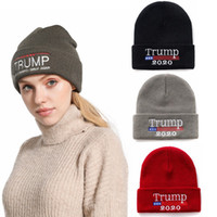 Wholesale make crochet hats resale online - New Trump Knitted Hat Donald Trump Make America Great Again Letter Embroidery Crochet Hat Winter Warm Knitted Cap HHA679