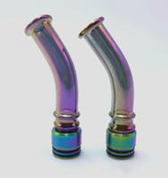 ingrosso punta di goccia della curva di vetro-Più nuovo ecig vape arcobaleno drip tip a lunga curvatura 510 810 vaporizzatore vaporizzatore vape glass 810 mod boccaglio drip tips