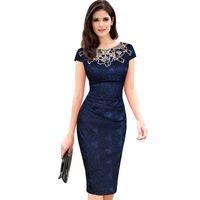 dantel iş kadın giyim toptan satış-Kadınlar vintage elbiseler kadın kısa kollu gül dantel dress yuvarlak boyun kalem dress bahar koyu mavi örgün ofis iş clothing t4190605