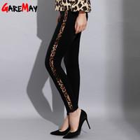 ingrosso pantaloni scarni alti neri alti-Jeans skinny a vita alta con jeans a righe Sexy jeans a righe con stampa leopardata Pantaloni skinny jeans a matita elastico J190425