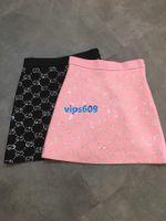 faldas negras calientes al por mayor-Mujeres niñas Falda letra Perforación en caliente moda de impresión Wild Falda corta de cintura alta Una línea Mini faldas negro Rosa SMLXL