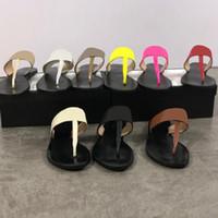 parte superior de la cadena de metal al por mayor-Diseñador de las mujeres diapositivas Sandalias chanclas Tanga Zapatillas Cadenas de metal Zapatillas de verano estilo zapatillas para mujer 100% cuero real de calidad superior