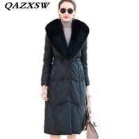 длинные шубы оптовых-2018 New Winter Women Genuine Leather Down Jacket Fashion Large Size Slim Thick  Fur Collar Sheep Skin Long Fur Coat LF144