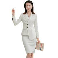 trajes de damas coreanas al por mayor-2019 Trajes de falda blanca de verano para mujer Moda coreana Casual Slim de dos piezas Dama Trajes de trabajo de oficina Chaquetas y faldas de manga larga
